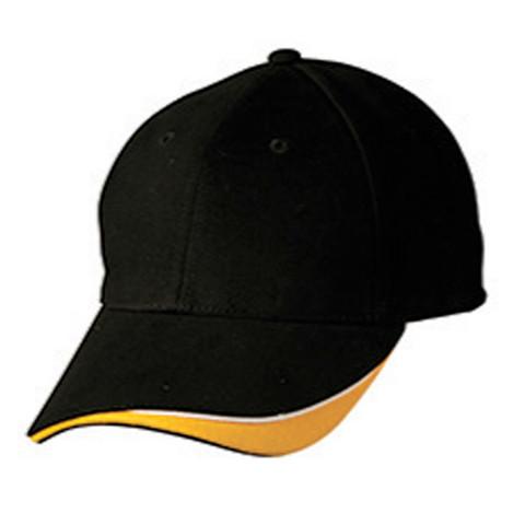 Wholesale Tri-Colour Baseball Adult Cap | Black.White.Gold