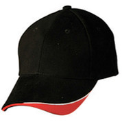 100% Cotton | tri-colour baseball cap | Black.White.Red