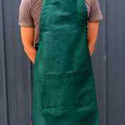 FRESH Plain Cotton Full Bib Apron Bottle Green