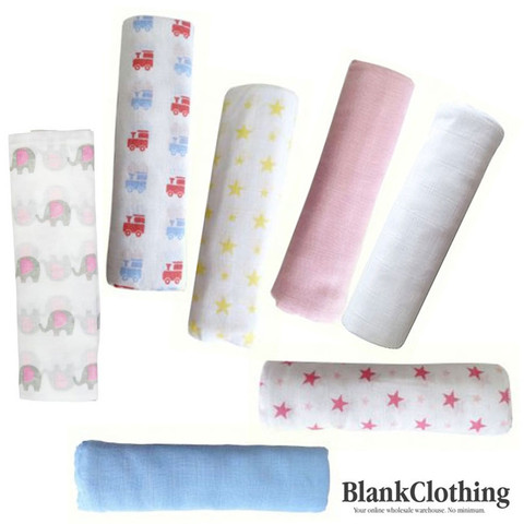 BUNDLE | baby muslin wrap | stars | plain blue | pink | white | stars | yellow | spots | trains | elephant