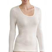 ALASKA women long sleeves merino wool - ivory