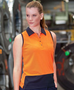 ladies safety wear | sleeveless polo | hi vis