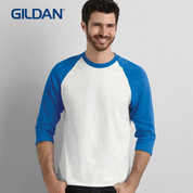 3/4 sleeve raglan tshirt | tearaway label - white+royal