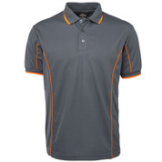 bulk discount mens contrast piping polo | grey+orange