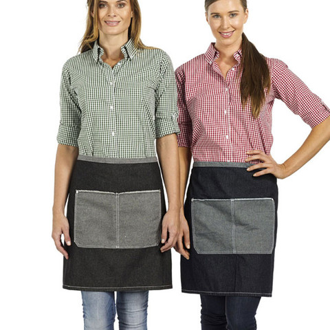 vintage denim short apron | Black on Left | Indigo Blue on Right