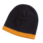 GIBBS | contrast knit beanie | black+orange