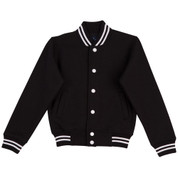 plain varsity jacket | kids | black+white