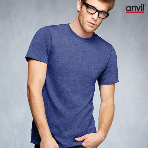 anvil lightweight plain tshirts | heather  blue