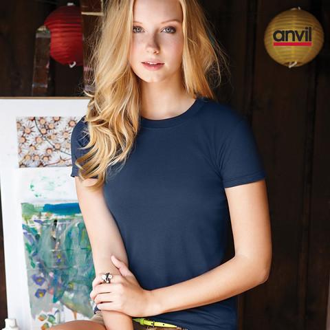 anvil ladies lightweight plain tshirt | sweatshop free