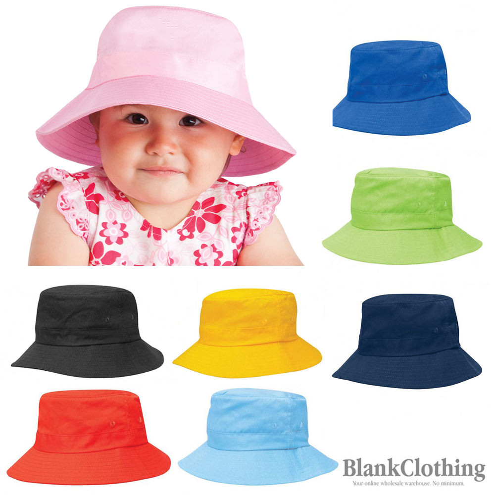 29b7cbf0813 Details about Kids Plain Cotton Twill Bucket Hat