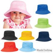 kids plain twill bucket hat & toggle