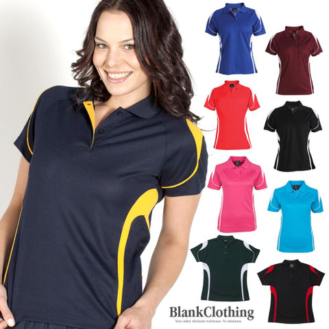 ladies quick dry contrast polos | wholesale