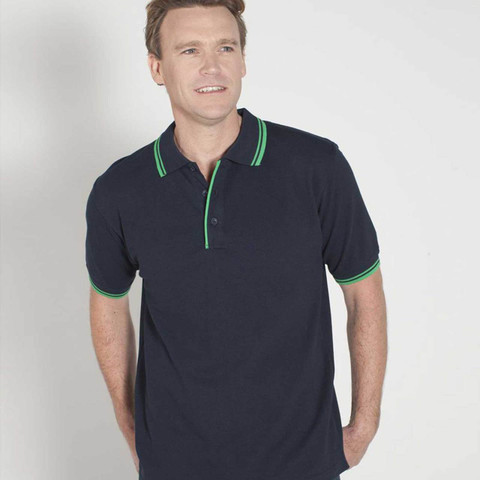 wholesale plain contrast pique polo