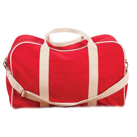 wholesale plain sports canvas bag | red+natural