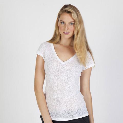 ladies burnt v-neck tshirts top | wholesale