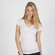 ladies burnt v-neck tshirts top | wholesale