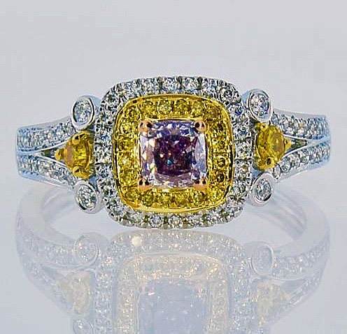fancy purple & yellow diamond ring