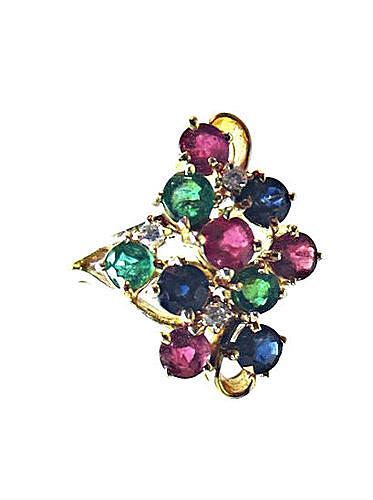 Ruby, Sapphire, Emerald & Diamond Gold Ring