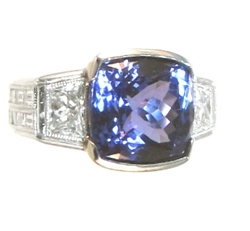 D Block Tanzanite and Diamond Platinum Ring