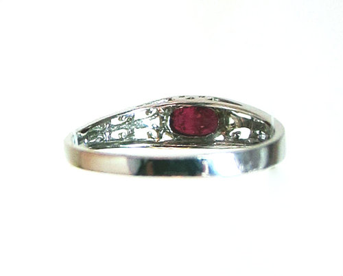 18k Pigeon Blood Red Ruby Ring - Back View