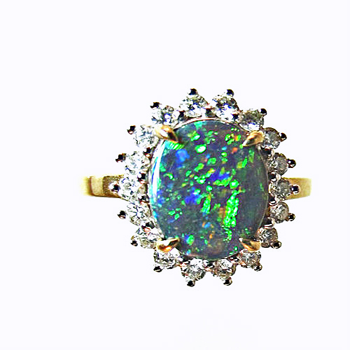Australian Solid Black Opal and Diamond Ring from IGYSL