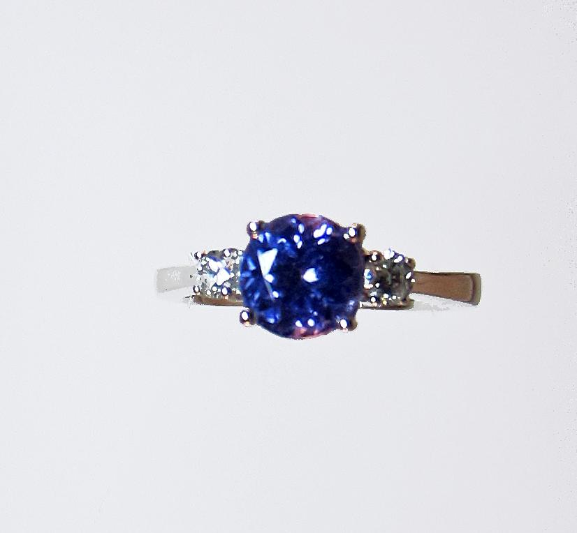 blue tanzanite diamond ring