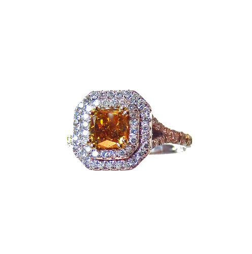 fancy brownish yellow orange and white-diamond ring