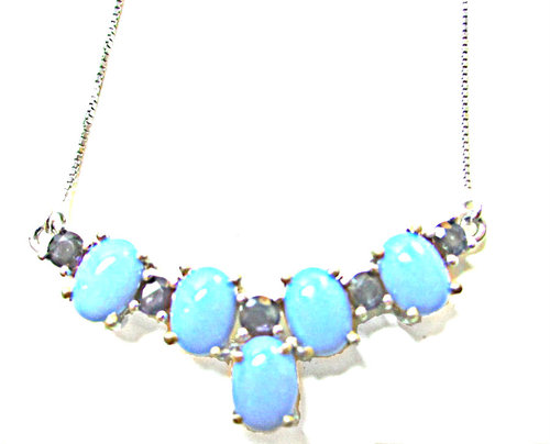 sleeping beauty turquoise sapphire necklace