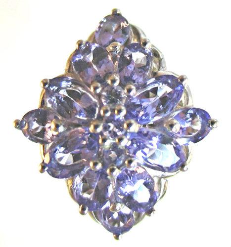 Blue Tanzanite Cluster Ring