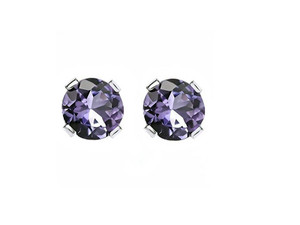 Purplish Blue Tanzanite Studs