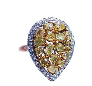 Natural Fancy Yellow & White Diamond Ring