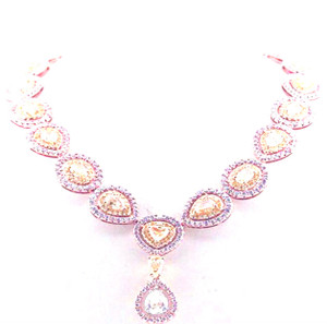 Natural Fancy Pink, Yellow and White Diamond Necklace