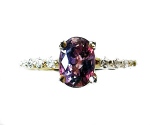 Certified Unheated Purple Sapphire and Diamond Ring