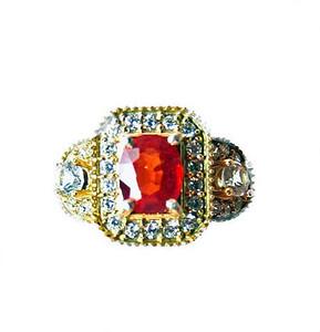 Orange and White Sapphire Ring
