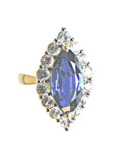 Kyanite and white sapphire gold ring