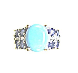 Turquoise, Blue Sapphire & Diamond Ring