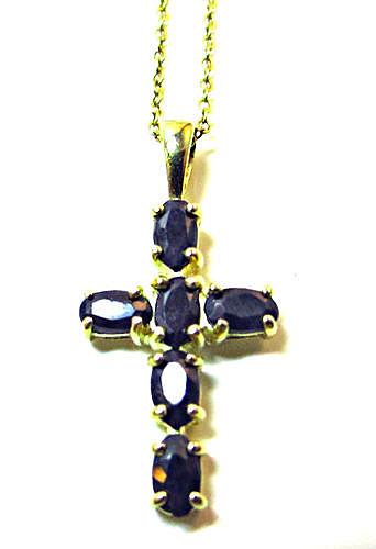 Black Sapphire Cross Pendant