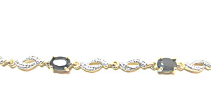 Black Sapphire and White Diamond Bracelet