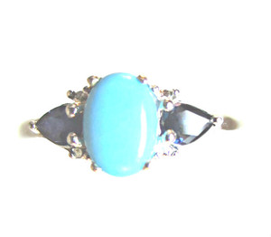 Sleeping Beauty Turquoise & Sapphire Ring