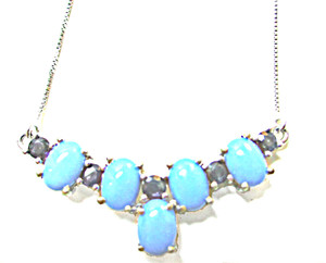 Sleeping Beauty Turquoise and Blue Sapphire Necklace