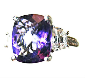 Lusaka Amethyst and White Topaz Ring