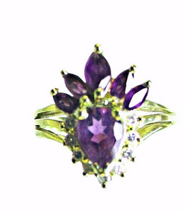 Estate Amethyst & Diamond Ring