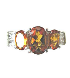 Dark Citrine and Diamond Ring
