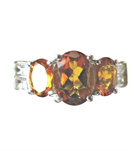 Dark Citrine and Diamond Ring