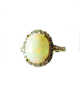 Australian Crystal Opal & White Zircon Ring