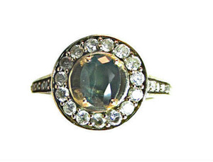 Alexandrite and Diamond front view ring
