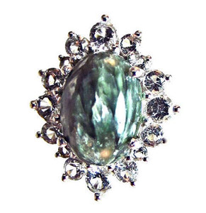 Seraphinite and White Topaz Ring