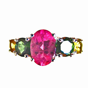 Pink, Green and Yellow Tourmaline Ring