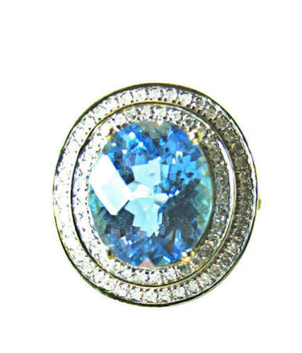 Blue Topaz Diamond Ballerina 14KT Yellow Gold Ring