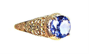 Art-Deco Style Blue Tanzanite Ring